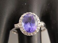 Designer 3.61 tcw D-Block Tanzanite Halo Diamond Ring Engagement 14k WG H/I1