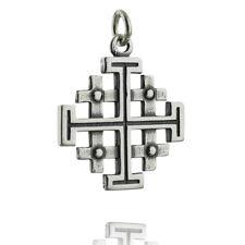 Jerusalem Cross Charm - 925 Sterling Silver - Five-fold Pendant Symbol Christian