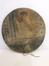 RARE 1840'S CROW SHIELD COVER WITH MEDICINE POUCH Horizon line, Constellations