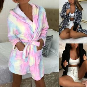 Femme Peignoir Chauffe Robe Polaire Capuche Moelleux Pyjama Habillage de Chambre