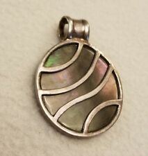 Abalone Shell Large Circle Pendant 925 Sterling Charm South Western Navajo Aztec