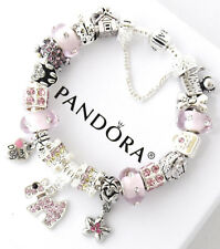 Authentic Pandora Silver Bracelet Pink Dog Crystal Mom European Charms New