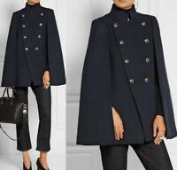 UK Women's Double Breasted Wool Blend Cape Jacket Coat Poncho Cloak Shawl Trench