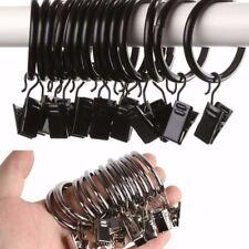 Set 10 Pezzi Anelli In Metallo Con Clip Ganci Per Asta Tende 30mm dfh