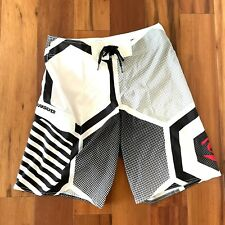 Quiksilver Mens Size 32 Cypher Series Board Shorts - Black White Red Swim Trunks