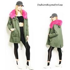 Olive Faux Fur Trim Hooded Military Parka Jacket Coat Cotton Quilted S M L XL