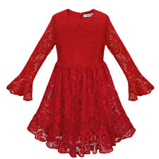 Kids Girls Long Sleeve Dress Hollow-out Lace Flower Bridesmaid Party Dresses Red