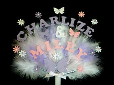 cake decoration double name flower, butterfly birthday or christening topper
