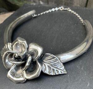 Bat Ami Israel sterling silver electroform rose flower collar choker necklace