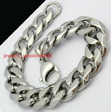 15mm 9'' Huge 316L Stainless Steel Curb Link Chain Bracelet Mens Fashion Jewelry