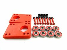 "5/16"" ~ 9/16"" Angled Wedge Riser Pads Red + ABEC 7 Bearings + 1.5"" Hardware"