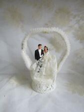 Vtg 1950's Bride & Groom Wedding Day Cake Topper Chalkware Figures Plastic Stand
