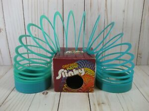 Vintage Original Plastic Slinky Green Teal w/ Box Item No. 110 Collectible Toy