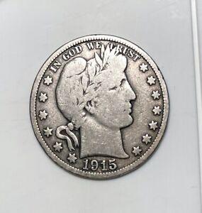 1915 S Barber Half Dollar - Nicer Grade - San Francisco Mint - BARBER - 50c