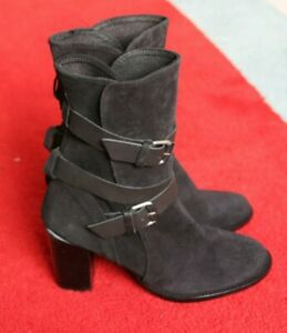 Beautiful Ladies Black Suede Leather Boots High Heeled UK 3.5 EU 36 RRP €149