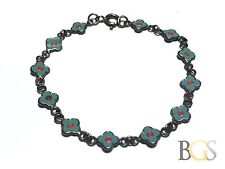 Cute .925 Sterling Silver Bracelet w/ Enamel Floral Style Blue Orange - Unique