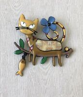 Cat on a tree branch dangle  fish large Brooch Pin in enamel on Metal