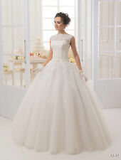 White wedding dress size 8 princess with lace, embroidery, ruffles, satin, tulle