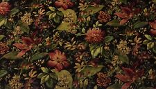 """MILL CREEK EMMANUELLE MIDNIGHT BLACK D4114 EMBOSSED FLORAL FABRIC BY YARD 54""""W"""