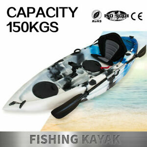 Fishing Kayak Sit-On Kayak Canoe Holders Padded Seat Paddle Sale Ocean Blue