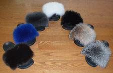 Real Fur Slides Fox sandals Slippers Mules Womens Fluffy Fur Slide