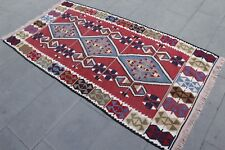 "Vintage Handmade Turkish Wool  Area  Kilim Rug   79""x42"""