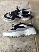 Retro Pastel Pink and Teal Color Block GoGo Sneakers