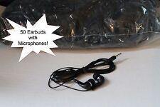 BULK Lot of 50 BLACK/SILVER 3.5mm In Ear Earbuds w/ Mic for Samsung Galaxy S5 S6