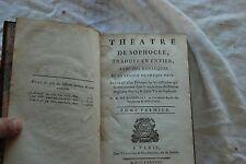 Theatre de Sophocle 2 tomes 1788 éditeur Nyon a Paris