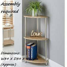Oak Effect Svar 3 Tier Corner Shelf Living Room Decoration Storage Use