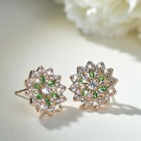 18k yellow gold made with green SWAROVSKI crystal stud lotus flower earrings
