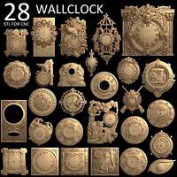 3d stl model cnc router artcam aspire 28 pcs wallclock clock basrelief