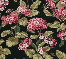 Pink Olive Black Floral Hydrangea Cotton Quilting Fabric By the Yard
