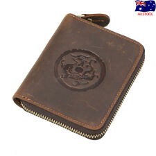 Vintage Mens Leather Bifold Wallet Purse Zip Around Card Coin ID Photo Holder