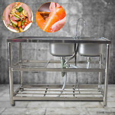Commercial Home Stainless Steel Sink Bowl Kitchen Catering Prep Table 2 Bowls Us