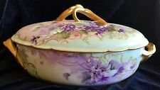 Stunning H&C HAVILAND LIMOGES Covered Casserole Dish Hand Painted Gold Violets