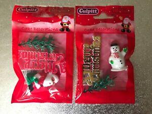 Christmas Cake Decorations Snowman or Santa with Christmas Tree & Motto Plastic