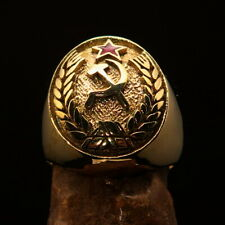 Nicely crafted Men's Communist Ring Hammer and Sickle Crest Red Star