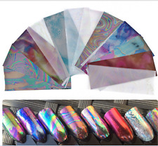 12x Holographic Foils Finger Nail Art Sticker Decal Water Transfer Stickers Set