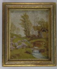 TURN OF THE CENTURY AMERICAN IMPRESSIONIST LANDSCAPE W SHEEP PAINTING REST PROJ