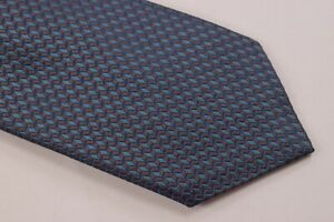 NWT Brioni Neck Tie Blue Brown Hand Made in Italy Pure Silk Luxury $240