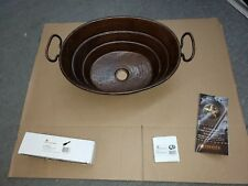 Premier Copper Products ~ Copper Bathroom Sink with Handles ~ Oil Rubbed Bronze