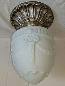 Vtg Antique Nickel Silver Art Deco Nouveau Flush Mount Ceiling Fixture Light