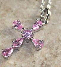 SILVER Elegant Pink Kunzite Cross Pendant Necklace