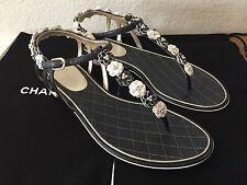 $1075 New authentic CHANEL Women Thongs SANDAL SLIDE FLATS Dark Grey size 38