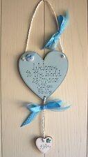Cœur en bois nouveau bébé plaque souvenir bespoke ajouter nom & détails bleu
