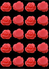 Resin Flower Cabochons 20 Petite Racy Red Roses Retro 7.5mm x 6mm Fab Earrings