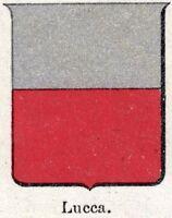 Lucca: piccolo stemma del 1901. Cromolitografia. Stampa Antica + Passepartout