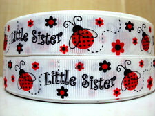 """1 m x  7/8"""" Red Ladybug with Glitter Wings Little Sister White Grosgrain Ribbon"""