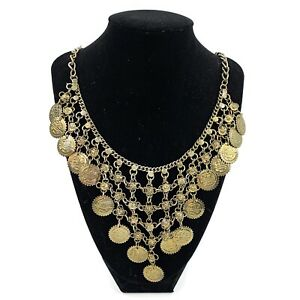 Womens Bronze Gold Tone Medallions Coin Statement Collar Necklace Bohemian Chic